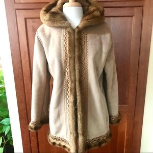 Embroidered Faux Suede Faux Fur Lined Hood Jacket